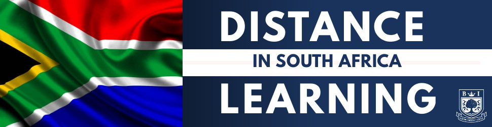 """""""Distance Learning in South Africa"""" written in white and blue on opposite white and blue backgrounds with South African flag and Bellview logo"""
