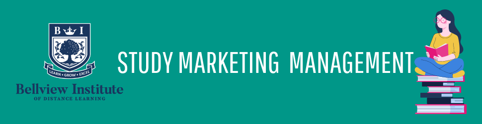 Study Marketing Management - Green Banner with an illustration