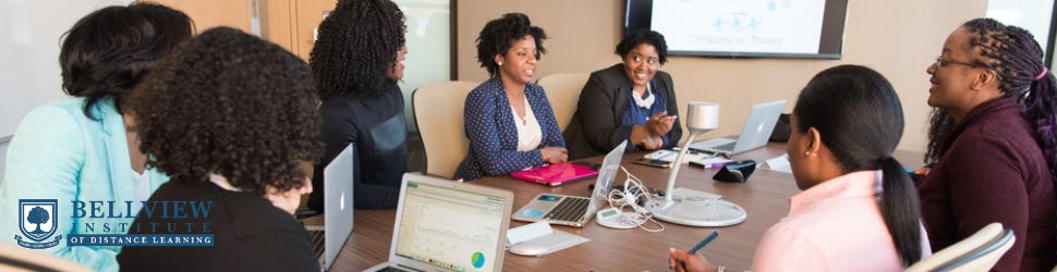 A business manager having a meeting with her employees at a boardroom desk