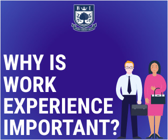 """""""Why is Work Experience important?"""" written on a blue background with two working professionals and Bellview Logo"""