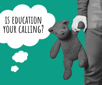 wondering if education is your calling and a child holding a teddy bear
