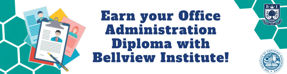 """""""Earn your Office Administration Diploma with Bellview Institute!"""" written in blue on a white and green background with the Bellview and ICB logos and a illustration of clipboards"""