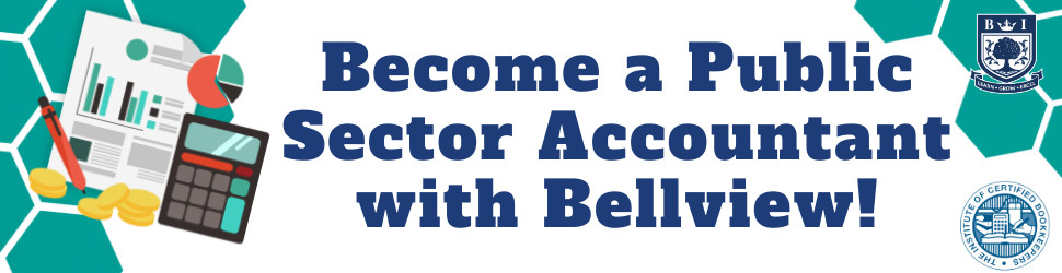 """Become a Public Sector Accountant with Bellview!"" written in blue on a white and green background with the Bellview and ICB logos and an illustration of a calculator and financial documents"