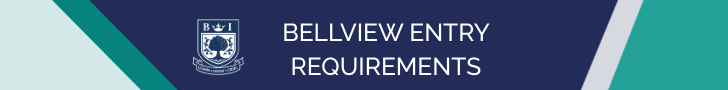 Bellview Entry Requirements - Navy, Green and White banner
