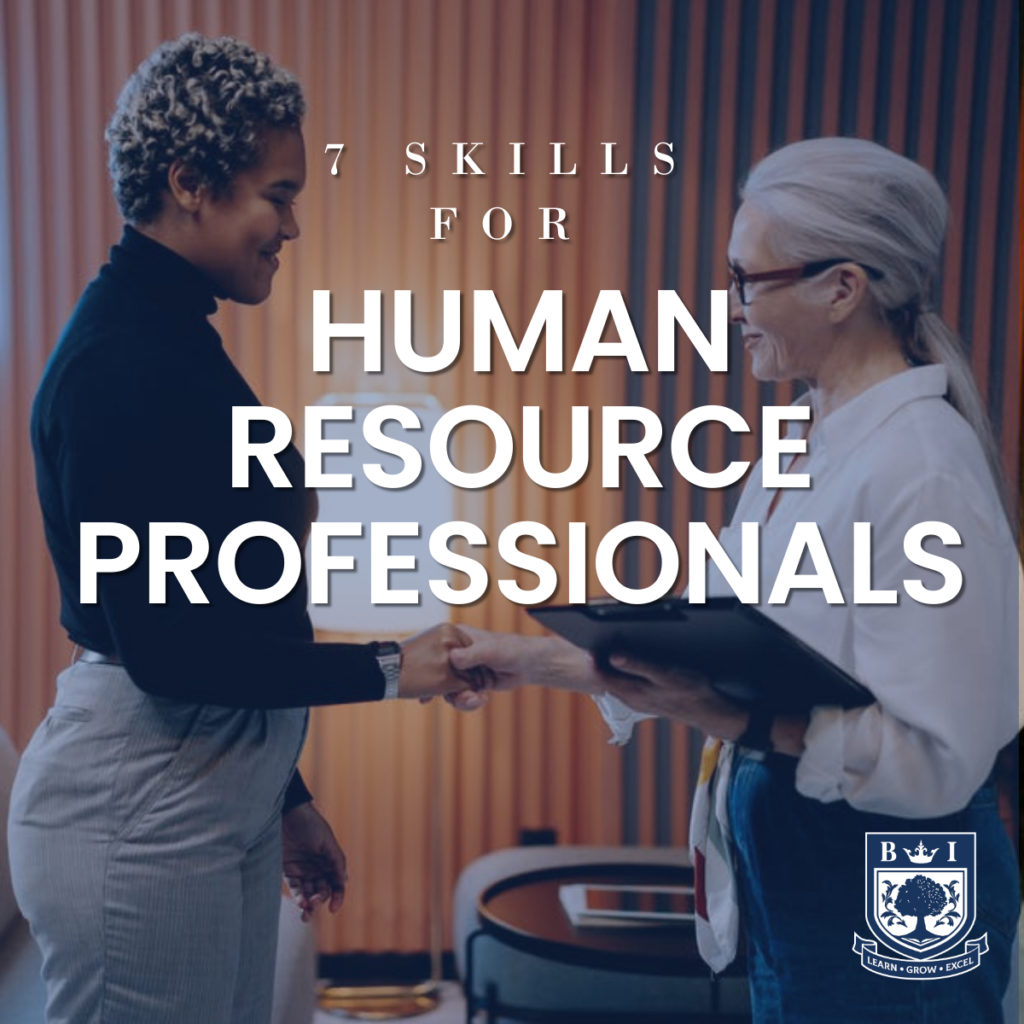 """7 Skills for Human Resource Professionals"" written on a background of a HR professional conducting a interview. Bellview logo in the corner"