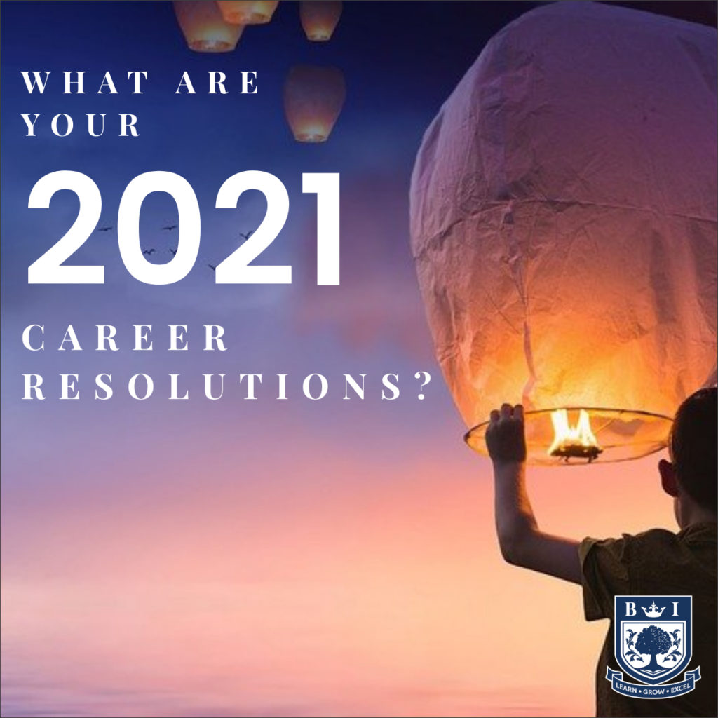 """""""What are your 2021 career resolutions?"""" written on a picture of a boy letting go of a lantern with the bellview logo in the corner"""