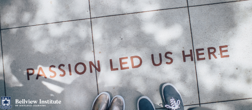 """The words """"passion led us here"""" written on the floor."""